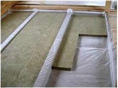 Утеплення підлоги по лагам за допомогою мінеральної вати.